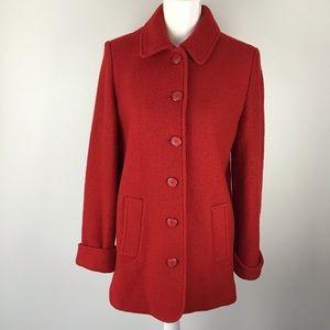 Liz Claiborne Red Wool Single Breast Jacket Coat 6